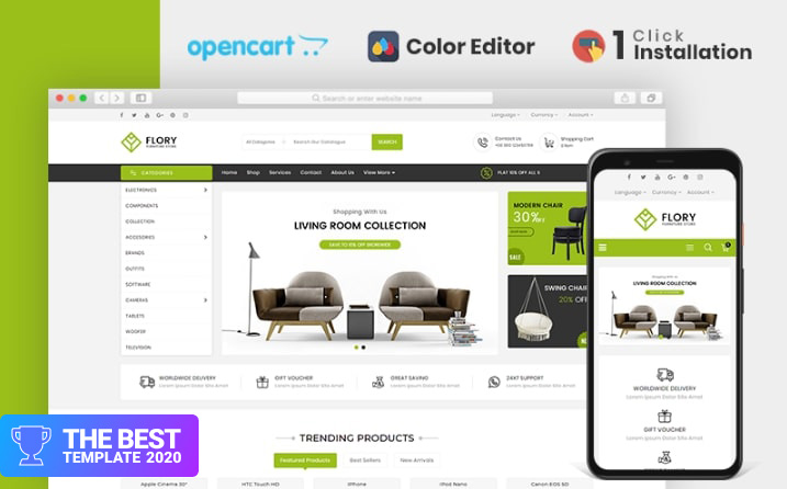 Flory Furniture Store OpenCart Template.