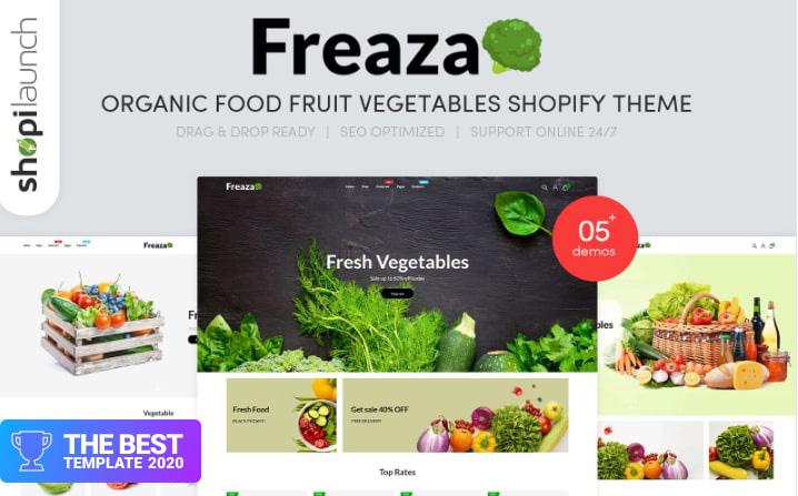Freaza - Organic Food Fruit Vegetables Shopify Theme.