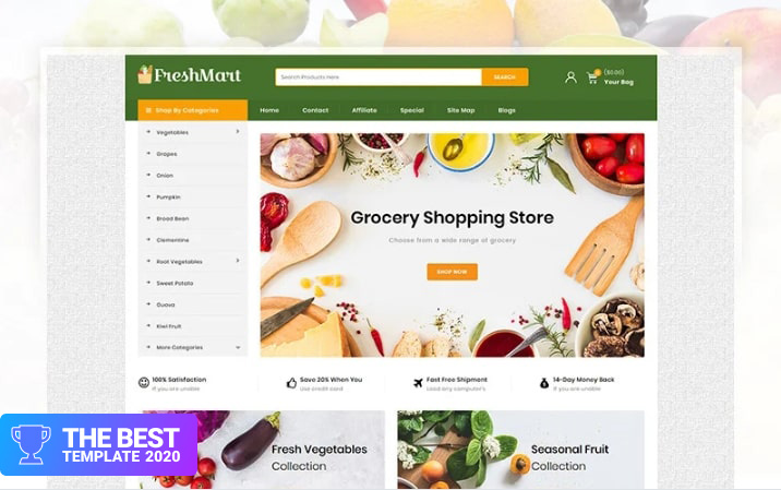 FreshMart - Grocery Store OpenCart Template.