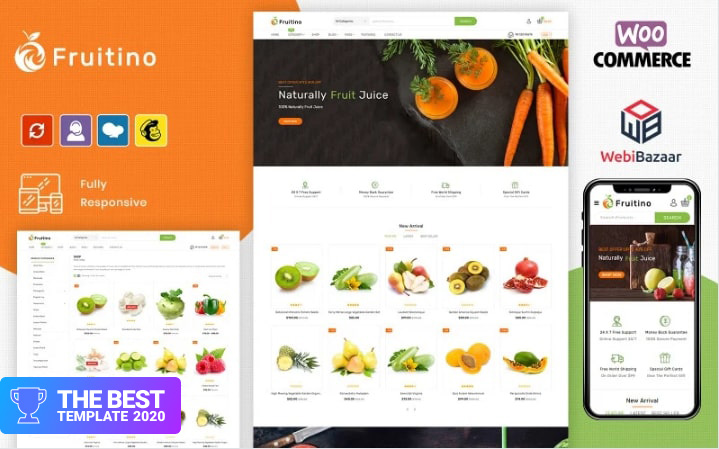 Fruitino - Food & Grocery Store OpenCart Template.