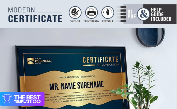 Gold, Silver & Bronze Rank Certificate Template  - digital products award