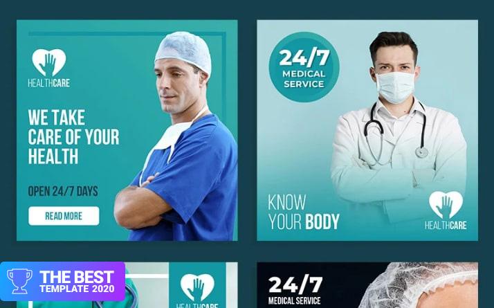 Healthcare Post Layout Set Social Media - digital products award