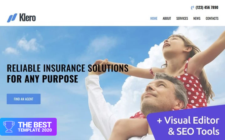 Klero - Insurance Services Moto CMS 3 Template - digital products award