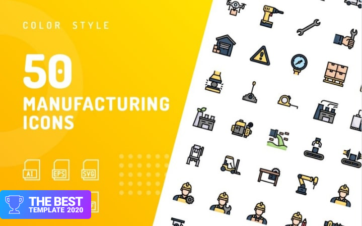 Manufacturing Color Iconset Template.