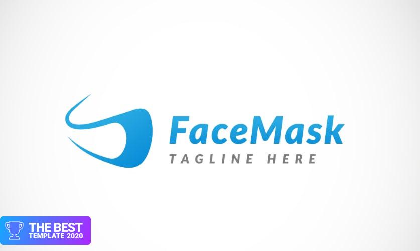 Modern Face Mask Design Logo Template.