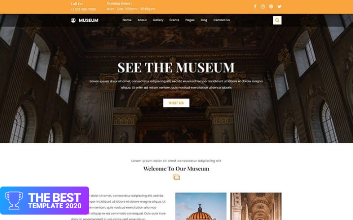 Museum and Exhibition website PSD Template.
