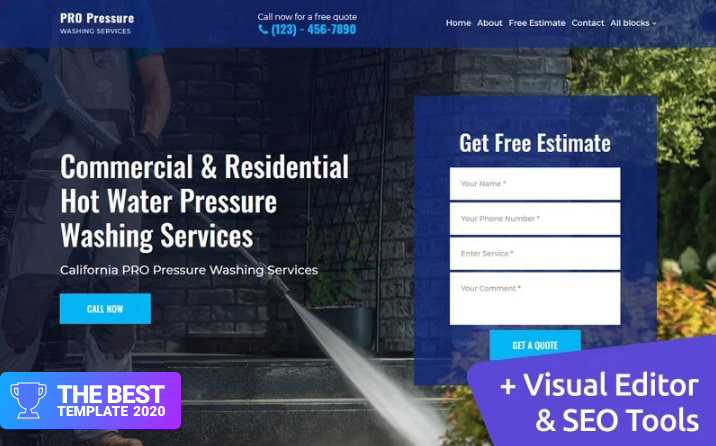 Pressure Washing Landing Page Template - digital products award
