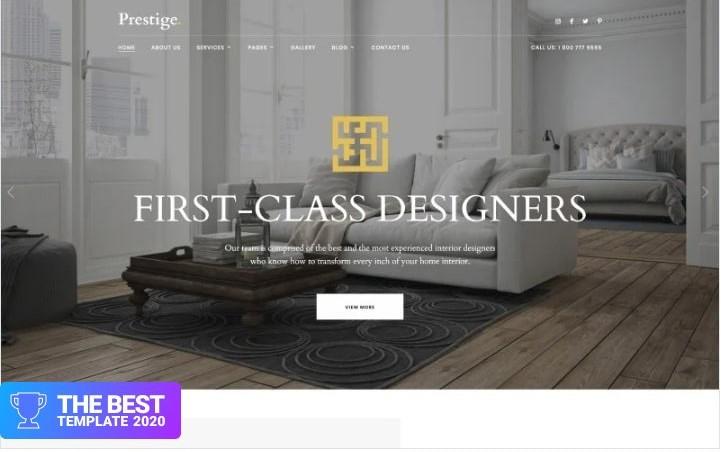 Prestige - Interior Design Studio Website Template.