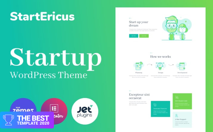 StartEricus - Clean and Minimalistic Startup Landing Page WordPress Theme best digital products