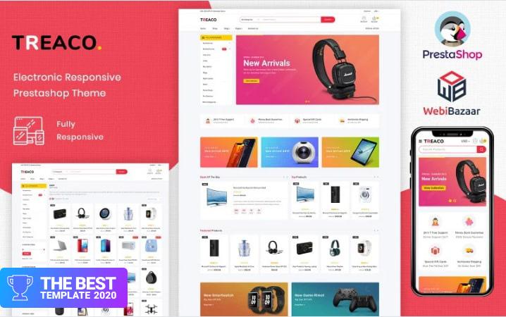 Treaco - Electronic Multipurpose Store PrestaShop Theme.
