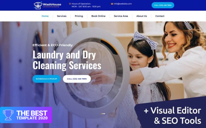 WashHouse - Laundry and Dry Cleaning Moto CMS 3 Template - digital products award