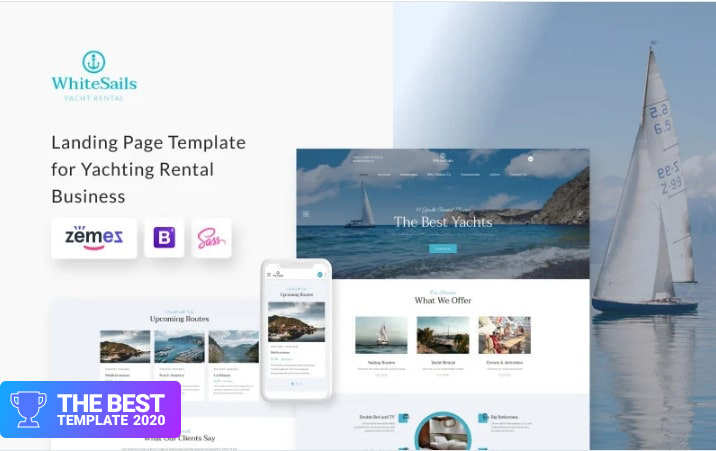 WhiteSails - Yacht Rental Clean HTML Landing Page Template - digital products award