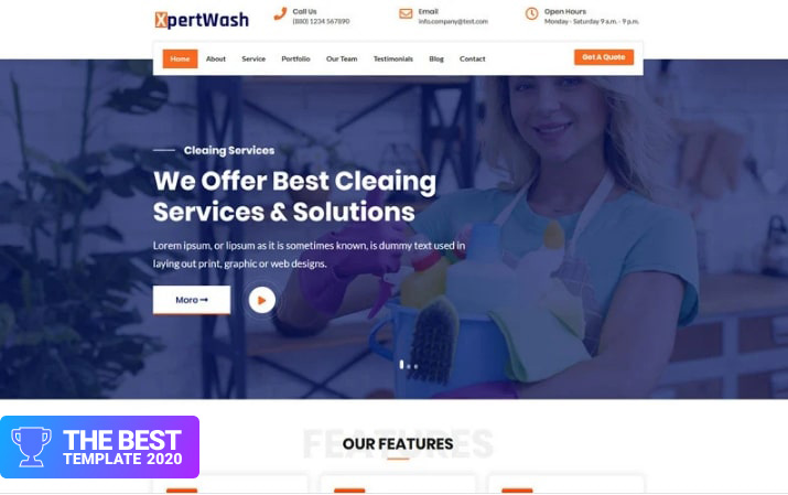 Xpertwash Landing Page Template - digital products award