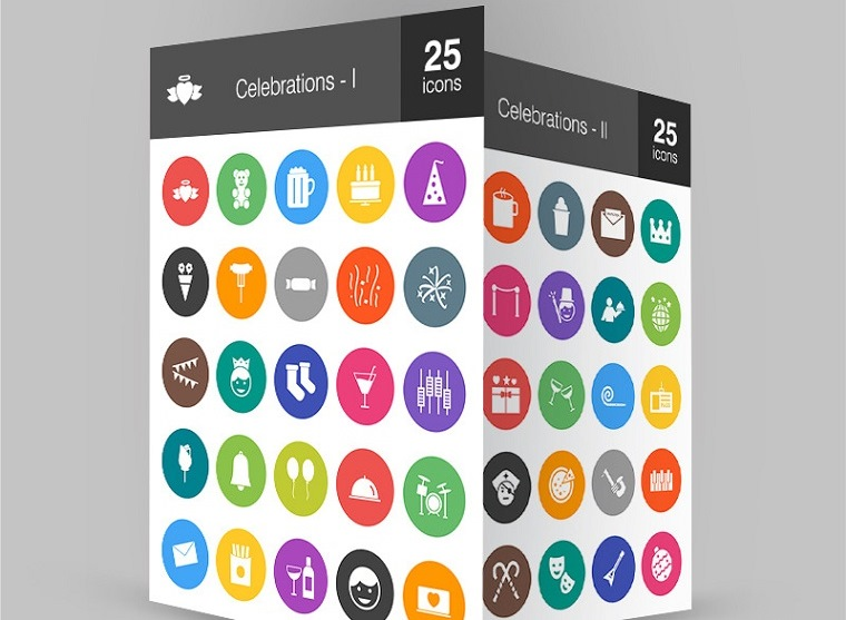50 Celebrations Flat Round Iconset