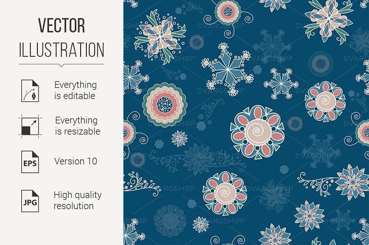 Christmas Background of Abstract Snowflakes Vector