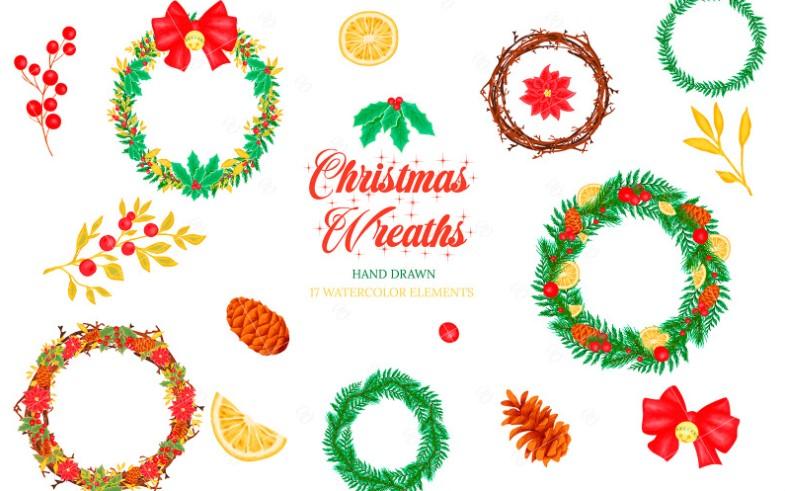 Christmas Wreaths Winter Illustration Pattern