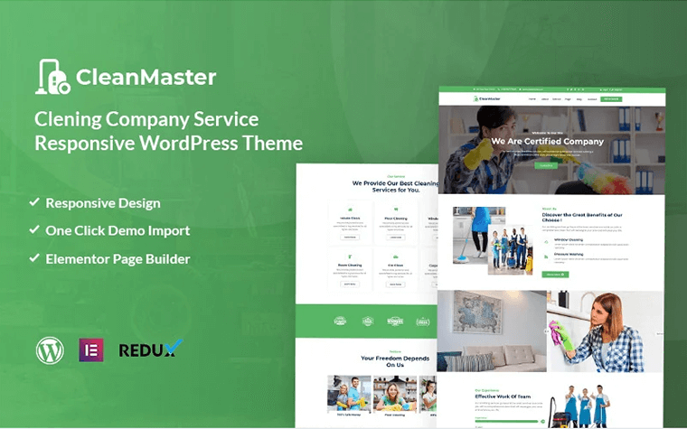 Cleanmaster - Cleaning Service Responsive WordPress Theme.