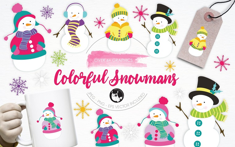 Colorful Snowmans illustration pack Vector