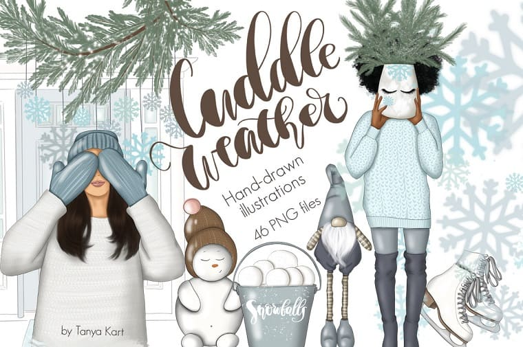 Cuddle Weather Clipart & Patterns Illustration