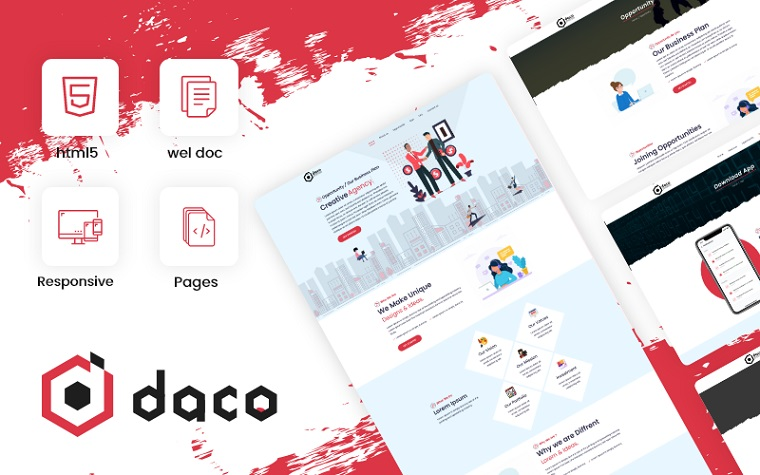 Daco - Corporate Business Consulting Theme Website Template.
