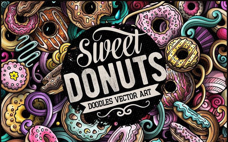 Donuts Vector Doodle Illustration.
