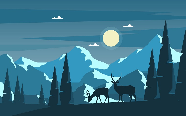 Mountain Deer Nature Illustration