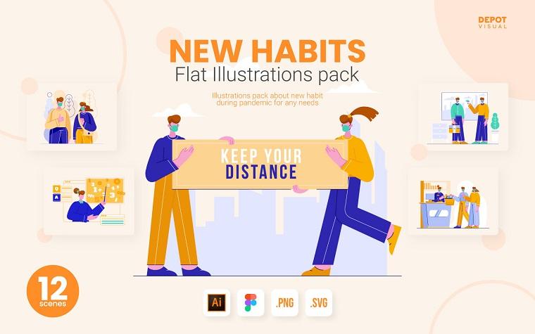 New Habits Pack Illustration.