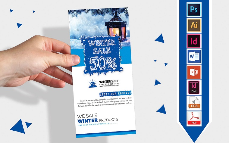 Rack Card | Winter Sale DL Flyer Vol-03 Corporate Identity Template