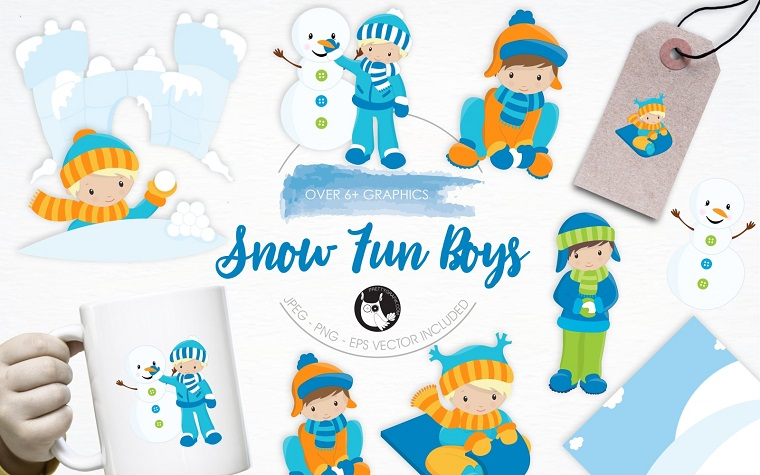 Snow Fun Boys illustration pack Vector