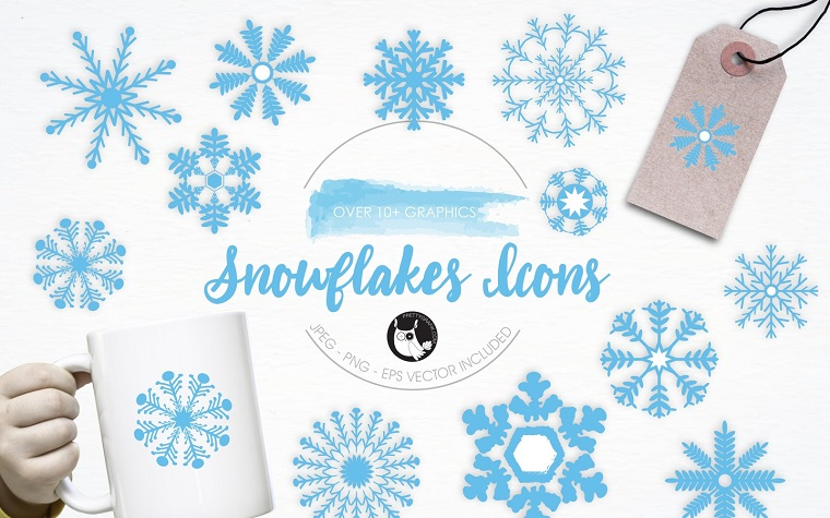 Snowflakes Icons illustration pack Vector