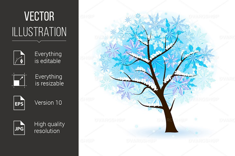 Stylized Winter Fruit Tree Vector