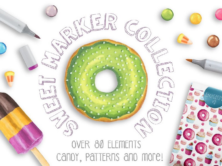Candy Marker Collection Illustration