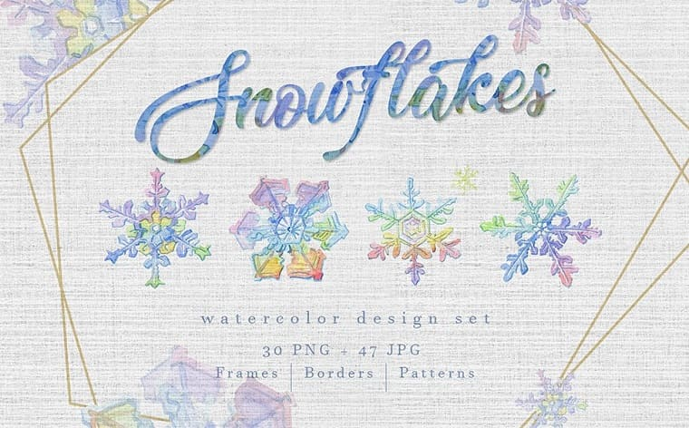 Watercolor Colorful Snowflakes PNG Set Illustration