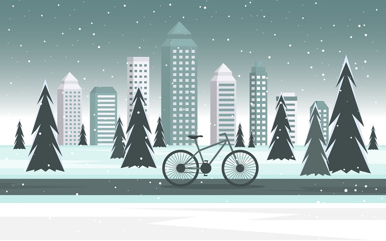 Winter Bike City Illustration