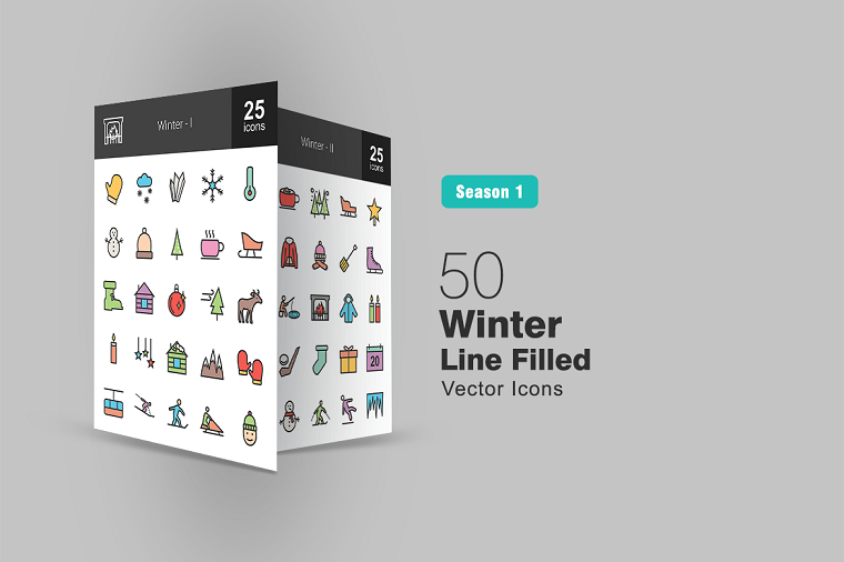 50 Winter Filled Line Iconset Template