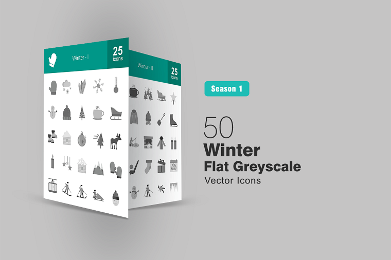 50 Winter Flat Greyscale Iconset Template