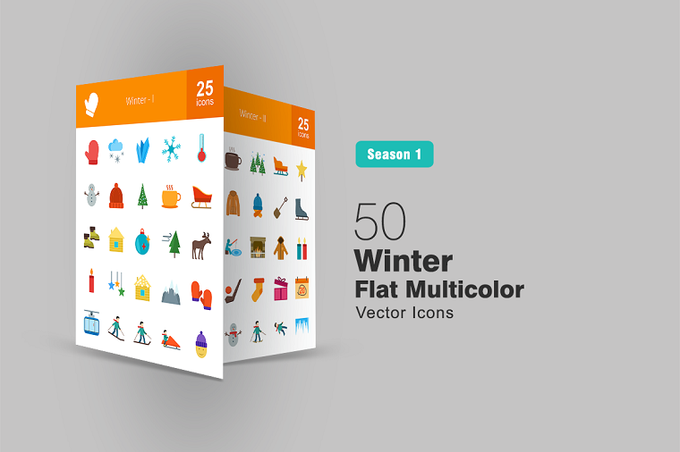 50 Winter Flat Multicolor Iconset Template