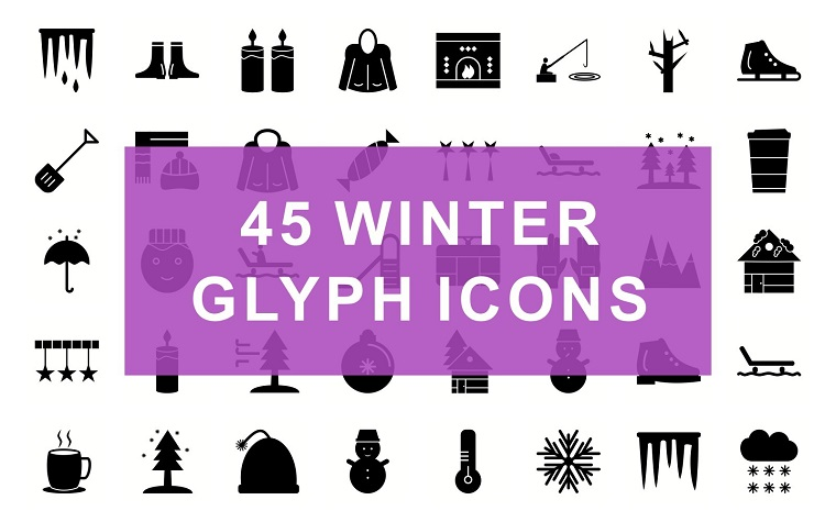 Winter Glyph Black Set Iconset Template