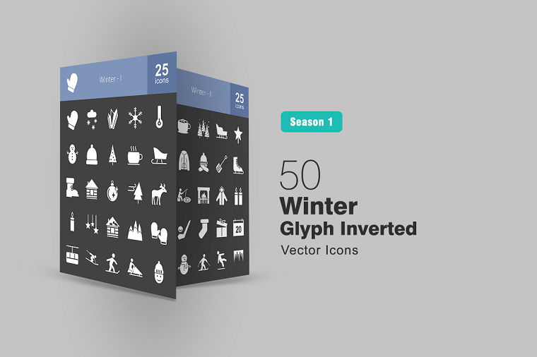 50 Winter Glyph Inverted Iconset Template