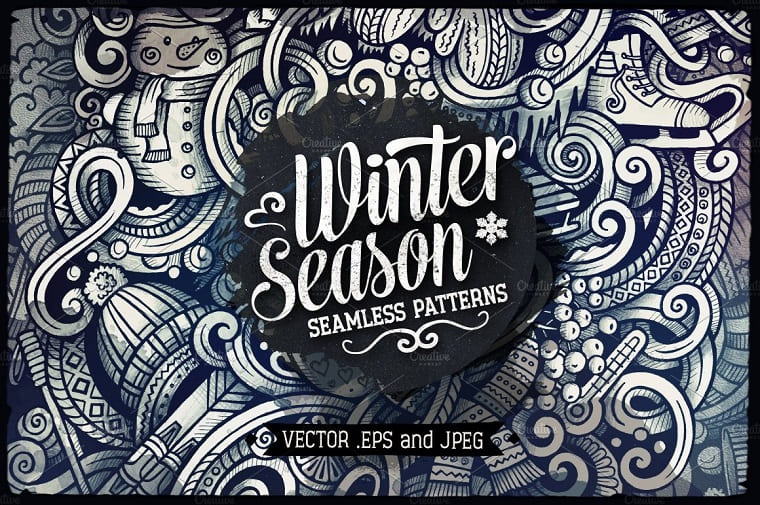 Winter Graphics Doodles Seamless Pattern