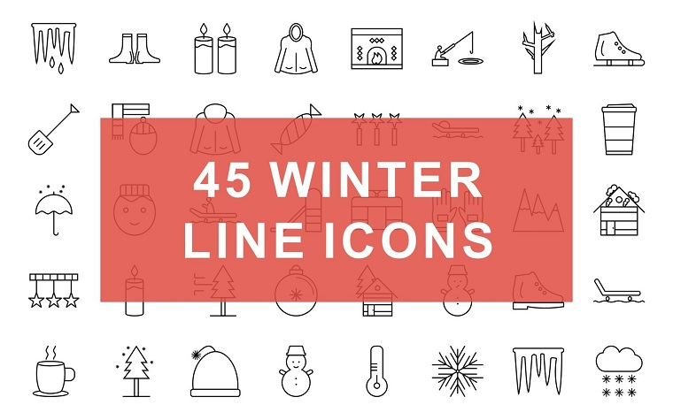 Winter Line Black Iconset Template