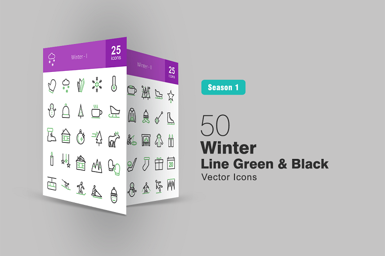50 Winter Line Green & Black Iconset Template