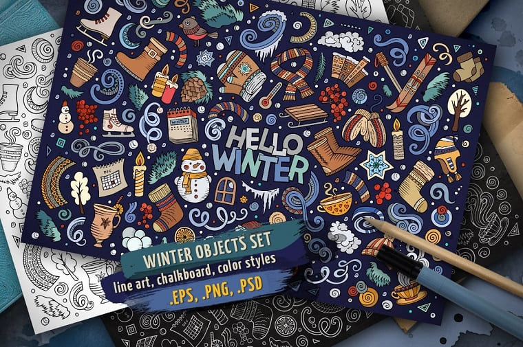 Winter Objects & Elements Set Vector