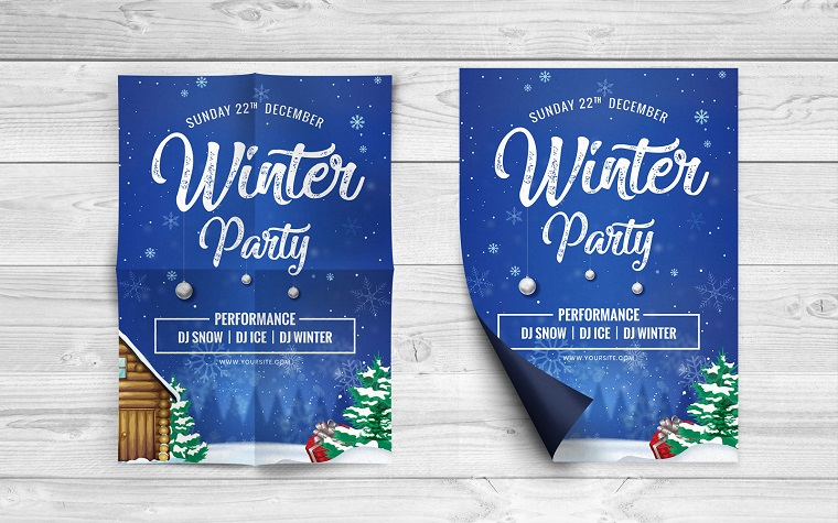Winter Party Flyer Corporate Identity Template