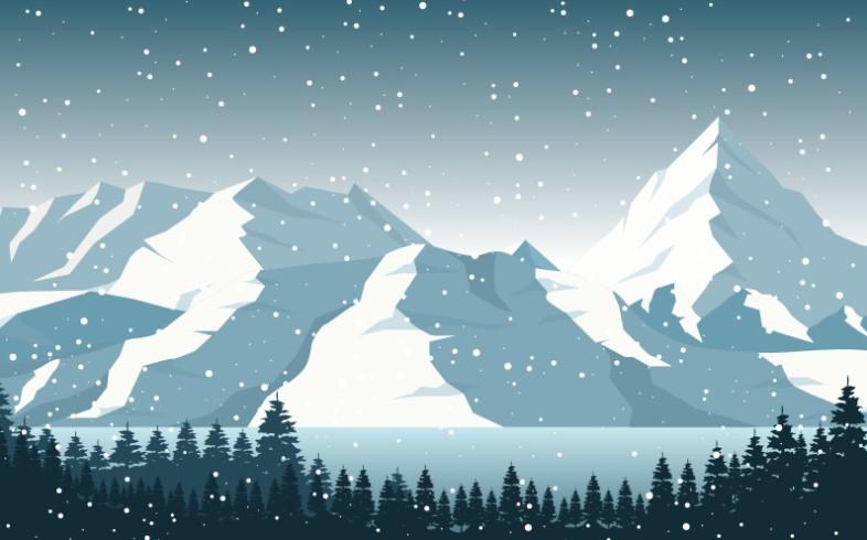 Magical Winter Pine Mountain Illustration Pattern