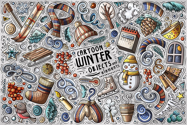 Winter Season Cartoon Doodle Objects Set Vector