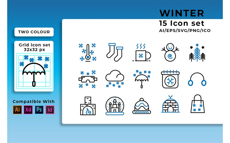 WInter Set Iconset Template