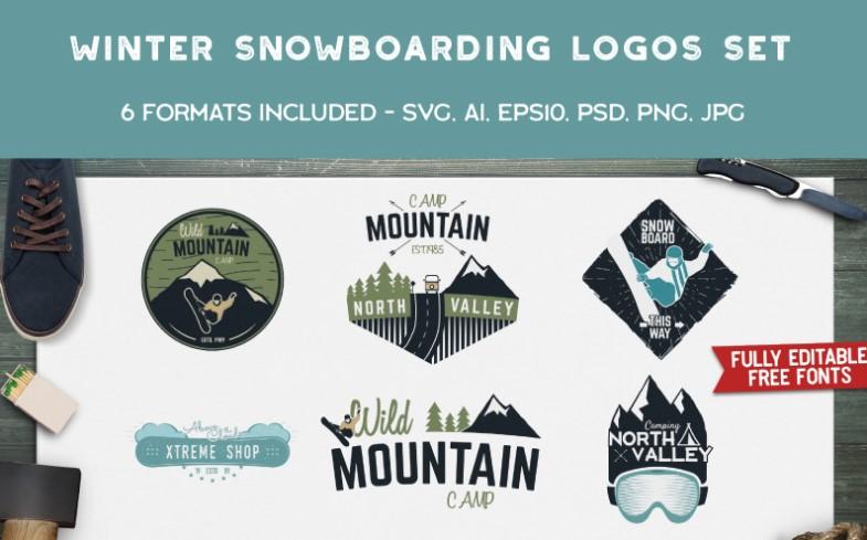 Winter Snowboard Patterns Logo Template