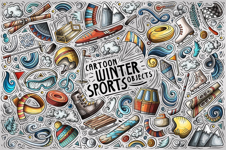 Winter Sports Cartoon Objects Set Vector