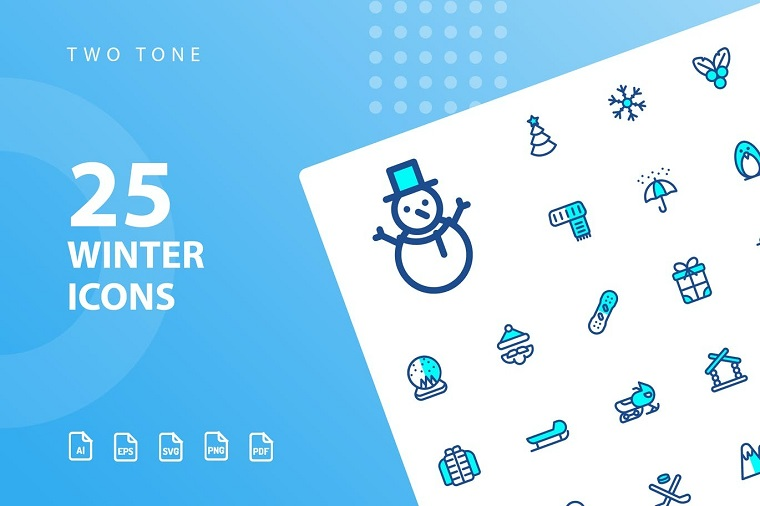 Winter Two Tone Iconset Template